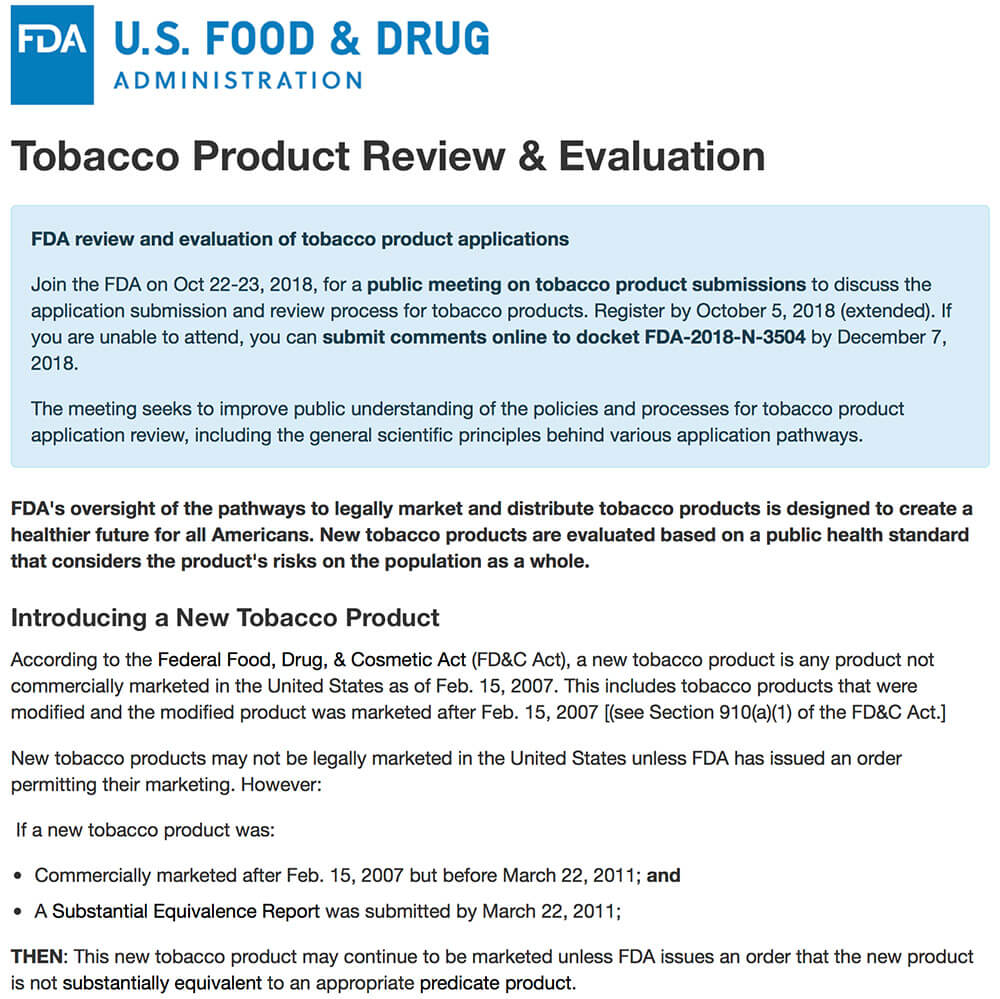 united states required new vapor device approval regulations