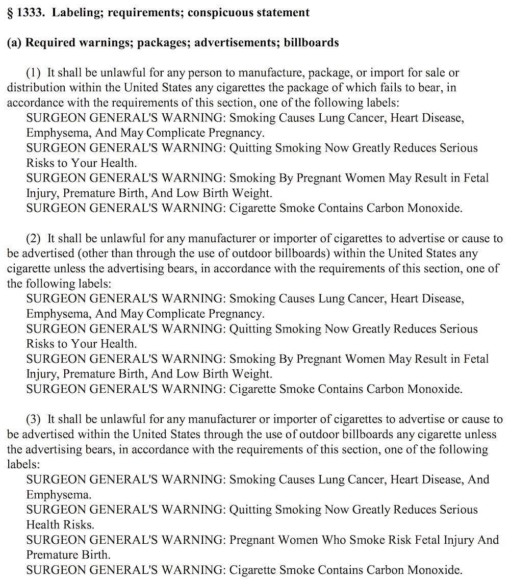 us tobacco cigarette label warning statement requirements