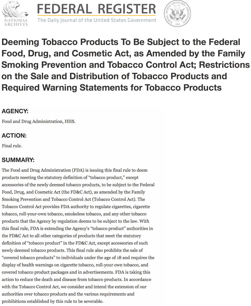 vapor products regulated as tobacco products in the united states