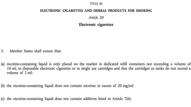 eu e liquid and maximum amount of nicotine