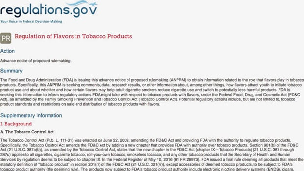 the regulation of tobacco and e liquid flavors in the united states