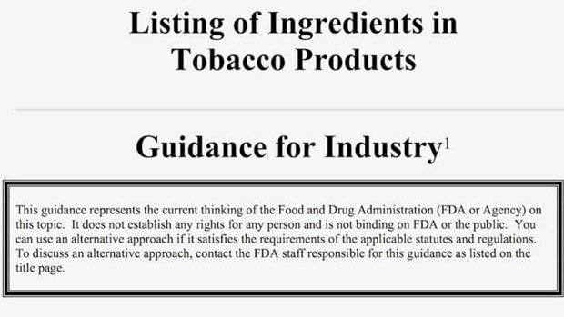 us listing of ingredients in tobacco cigarettes guidance