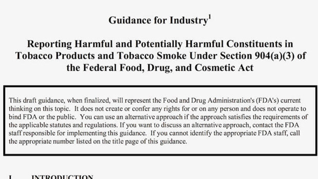 us reporting of harmful and potentially harmful constituents in tobacco products industry